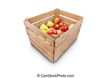Fresh apples in wooden box