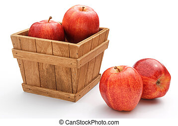 fresh apples in wooden crate on white