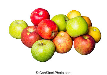 Fresh apples isolated on white - Group of fresh colorful...
