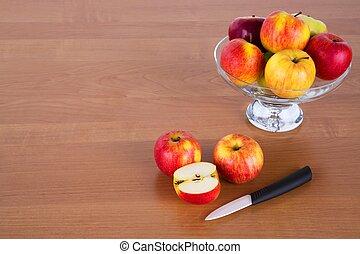 Fresh apples on a table