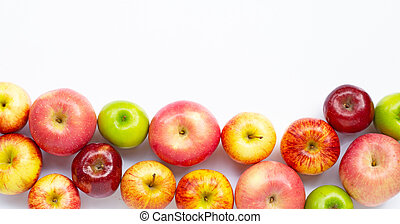 Fresh apples on white background. Top view