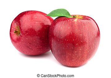 Fresh apples with leaves