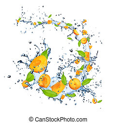 Fresh apricots falling in water splash, isolated on white background