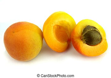 Fresh apricots on white background.
