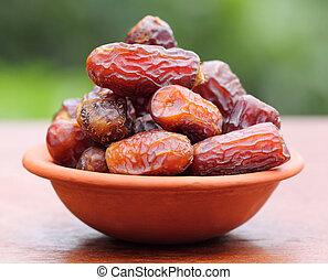 Fresh Arabian Dates with selective focus