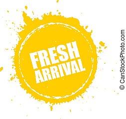 Fresh arrival advertising stamp