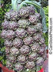 Fresh artichokes - A composition of fresh artichokes