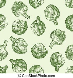 fresh artichokes. harvesting. natural products seamless background