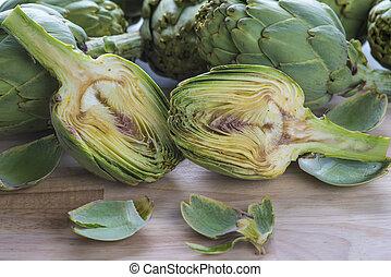 Fresh artichokes to cook