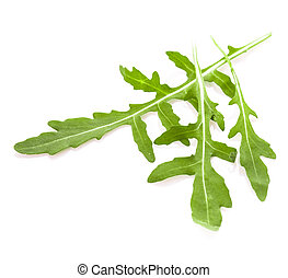 Fresh green arugula heap isolated on white