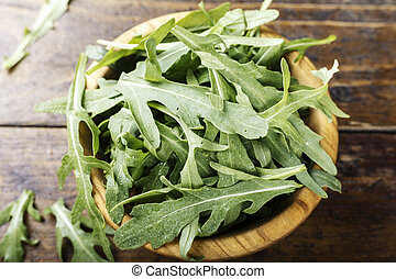 Fresh arugula leaves, rucola