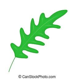 Fresh arugula. Natural ingredient. Culinary herb. Flat vector design