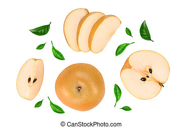 Fresh asian pear isolated on white background. Top view. Flat lay. Set or collection