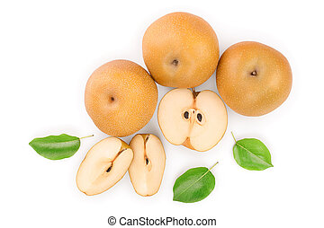 Fresh asian pear with leaves isolated on white background. Top view. Flat lay.