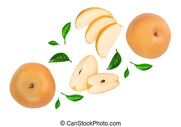 Fresh asian pear with leaves isolated on white background. Top view.