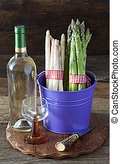Fresh Asparagus and Wine