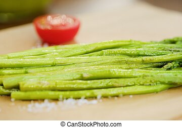 Fresh asparagus on the grill for vegetarians