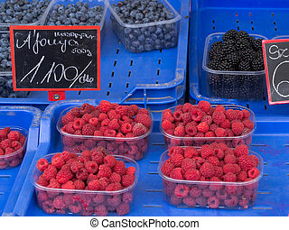 Fresh Assorted Berries at Farmers Market