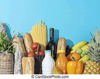 Fresh assorted grocery shopping items