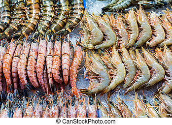 Fresh assorted prawn