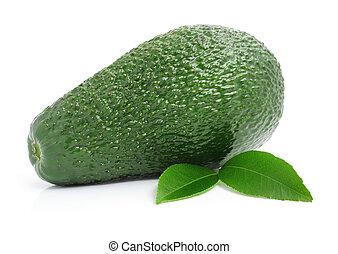 fresh avocado fruits with leaf isolated on white