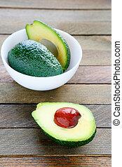 fresh avocado in a white bowl