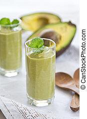 Avocado smoothie - Fresh Avocado smoothie in glasses