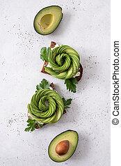 Fresh avocado toasts
