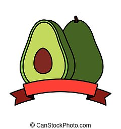 fresh avocado vegetable with ribbon seal stamp