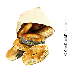 Fresh bagels - Fresh Montreal style bagels in paper bag on...