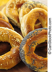 Fresh bagels - Variety of fresh Montreal style bagels close...