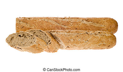 fresh baguette bread isolated on a white background