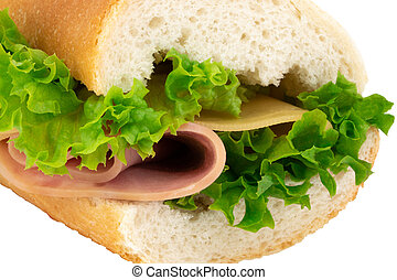 Fresh baguette sandwich with ham, cheese, tomatoes, and lettuce isolated on white background