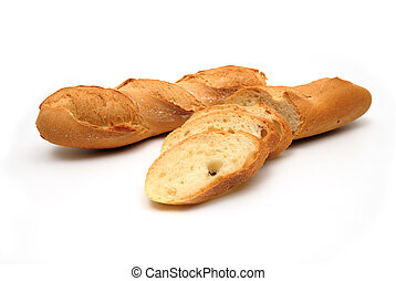 Fresh baguette, sliced, isolated on white background
