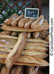 Fresh baguettes at a market