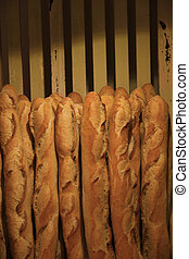 Fresh baguettes in a bakery