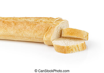 fresh baked baguette with three slices