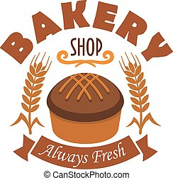 Fresh baked bread icon for bakery shop label