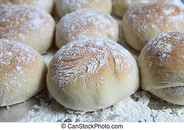 Fresh baked bread rolls - A tray of freshly baked Scottish ...