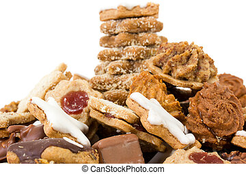 Fresh baked christmas cookies on white background