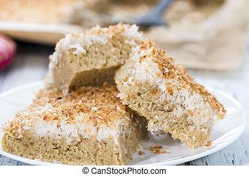 Fresh baked Coconut Cake (detailed close-up shot)