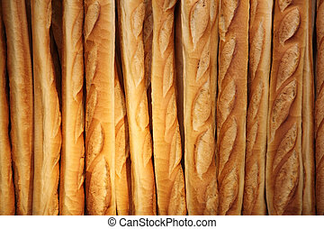 French baguette background - Fresh baked French baguette...