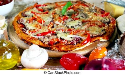 fresh baked homemade pizza with vegetables