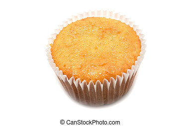 Fresh baked muffin on white background