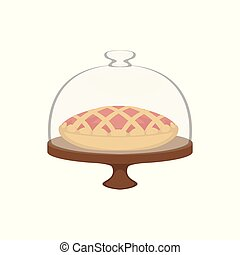 Fresh baked pie with lattice top in dome glass cover vector Illustration