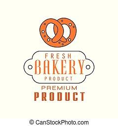 Fresh bakery product, premium product logo template, bread shop badge retro food label design vector Illustration