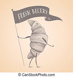 Fresh bakery shop, pastry vector logo, sign, icon