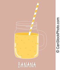 Fresh Banana Smoothie. Healthy Food. Vector Illustration ...