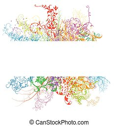 Fresh banner with colorful floral effect
