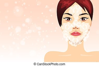 Fresh beautiful woman face washes process, vector